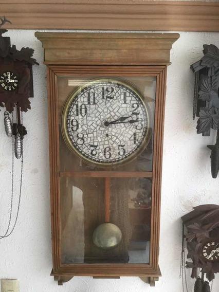 Reloj De Pared De Cuerda Grande Americano 30s Funcionando
