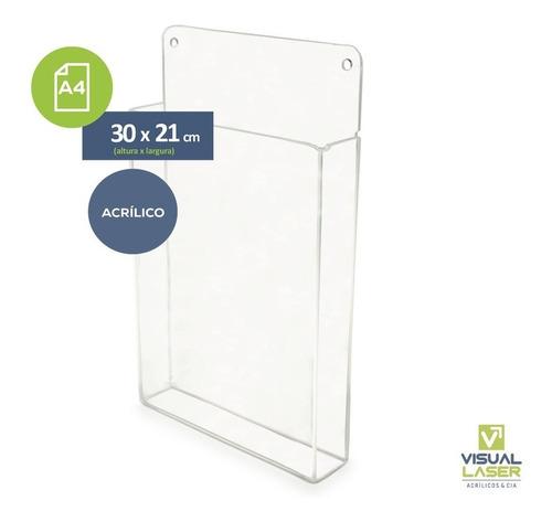Display Acrílico Parede Porta Folha A4 Com Bolso