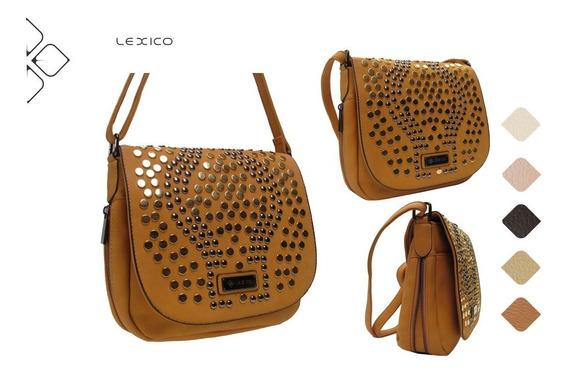 Morral Lexico C/ Tachas Y Fuelle 100% Pu Cuero - Art. L384