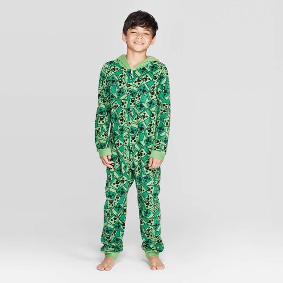 Minecraft Creepers Cuadros Pijama Original Niño Talla S