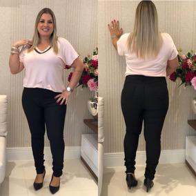 Calça Jeans Plus Size Feminina Slim Lycra Preta 46/60