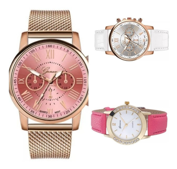 Relógio Luxo Geneva Feminino Pulseira De Couro Frete Gratis