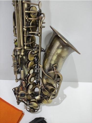Saxofone Mib Alto Waldman Escovado Dourado Zerado Completo