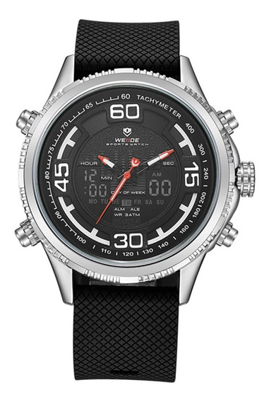 Relógio Masculino Weide Anadigi Wh-6306 - Preto E Prata