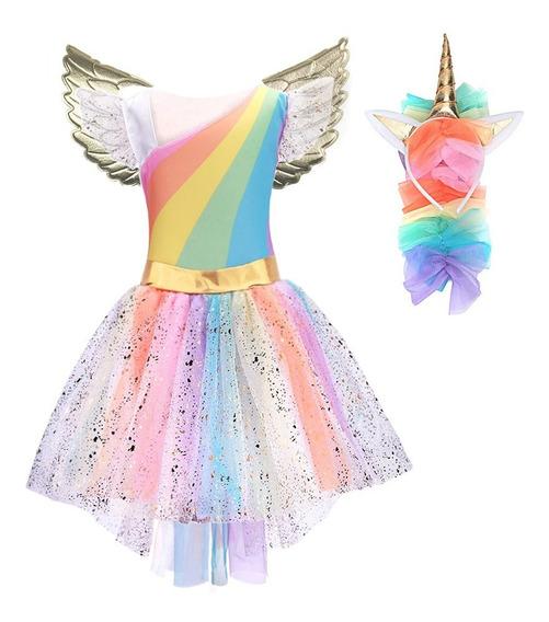 Vestidos Niñas Disfraz Unicornio Mágico Alas Alta Calidad