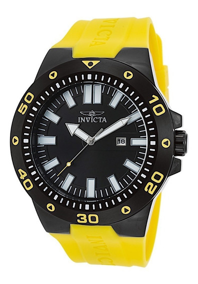 Relógio Invicta Pro Diver 23513 Preto Com Amarelo 52mm Origi