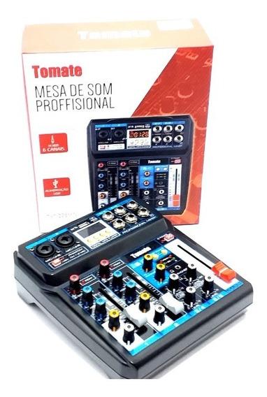 Mesa De Som Mini 6 Canais Usb Bluetooth Profissional Tomate