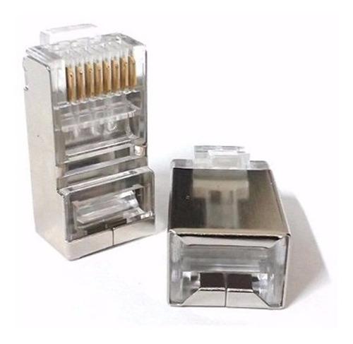 Ficha Macho Rj45 Blindada Plug Cat 5e Conector Cable Ftp X10