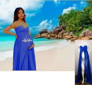 Vestido Embarazada,azul,top,sesion Fotos,gestante,baby Showe