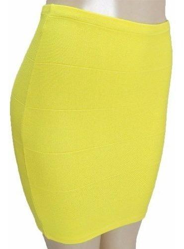 Mini Saia Bandagem Textura Média Com Elástico Na Cintura Cla
