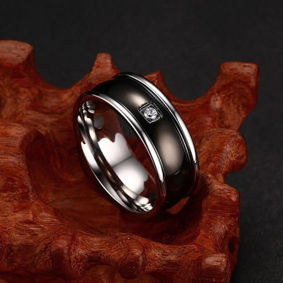 Anel Aliança Aço Preta Com Strass Casamento Noivado Presente