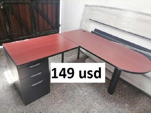 Imagen 1 de 1 de Escritorio En L Estacion De Trabajo Mueble Oficina Usado Atu
