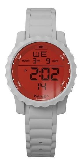 Relógio Masculino Digital 18k Branco Com Vermelho Original!