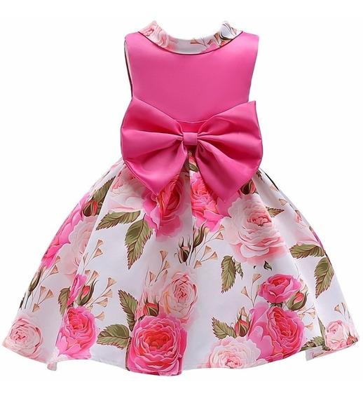 Vestido Infantil Festa Meninas Rosa Estampado 4 6 8 10 Anos