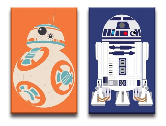 Conjunto Kit Quadros Decorativos Bb-8 E R2-d2 Star Wars