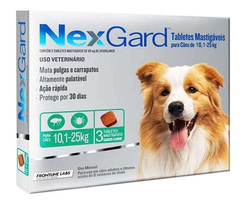 Antipulgas Nexgard Para Cães De 10 A 25  Kg - 3 Tabletes