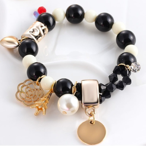 Pulseira Feminina Bracelete Bolas Pretas Brancas Dourada 556