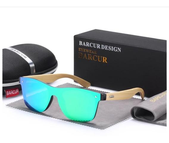 Óculos De Sol Bambu Barcur Original Polarizado Uv400 Verde
