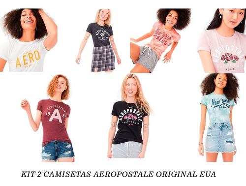 Kit 2 Camisetas Aeropostale Feminina Original Eua