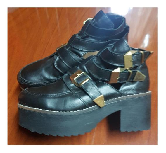 Zapato Negro Abierto Al Costado Nº 38 Nazaria