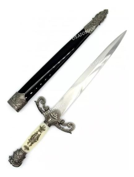 Punhal Cavalaria Cruzada Medieval Adaga Espada Branco -nfe