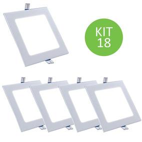 Plafon Led Embutir Painel 12w Branco Frio Quadrado Kit 18