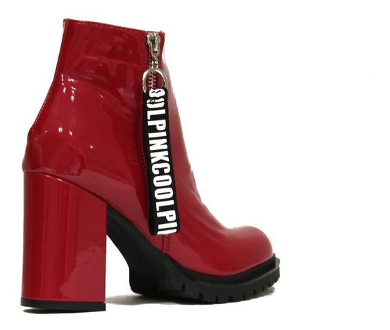Zapatos De Mujer Botinetas Con Taco De Charol Moschi