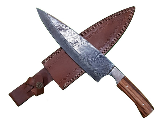 Cuchillo Artesanal Acero Damasco 20,5cm Vaina De Cuero