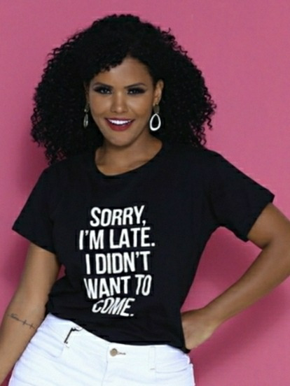 Blusa Camiseta T-shirt Feminina Em Tecido 100% Algodão