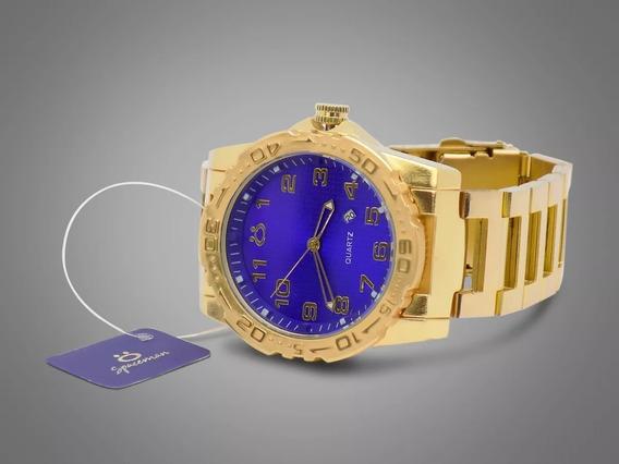 Relógio Masculino Spaceman Dourado Analógico Luxo Promoção