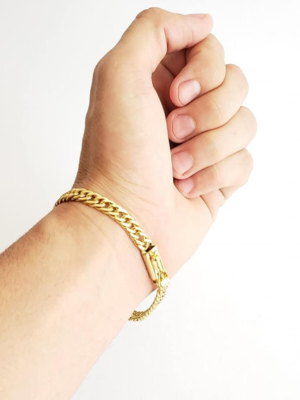 Pulseira 7mm Grumet Lacraia Banhado A Ouro Luxo Masculino