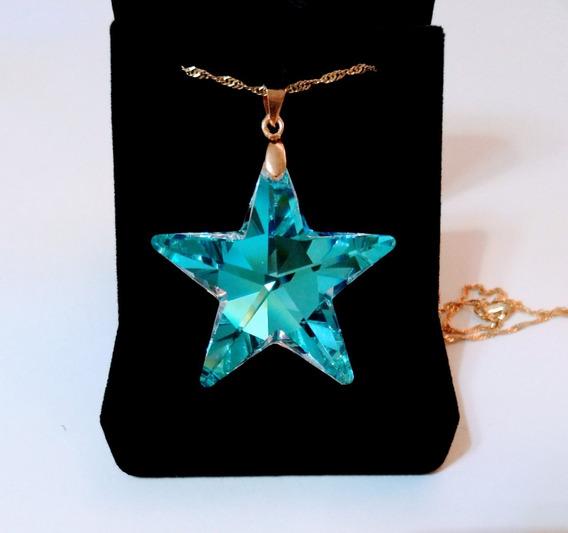 Colar Estrela Swarovski Blue Boreal 4,0 Cm Folheada Ouro 18