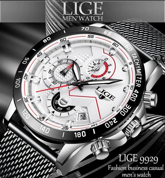 Relógio Masculino Original Lige 9929 Luxo Calendário Automático E Cronógrafo Funcional Esporte Fino Pronta Entrega