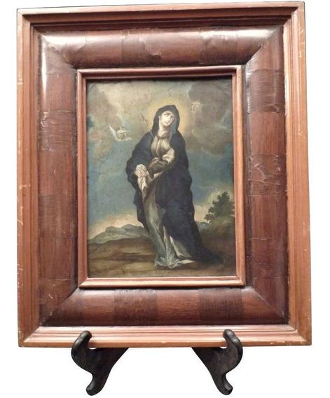 Antigua Pintura Lámina Cobre Y Marco Virgen Dolorosa México