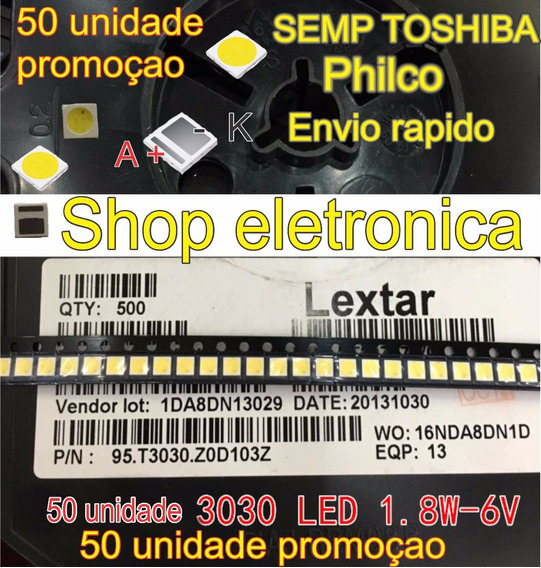 Led Backlight 3030 6v 1,8w 150 187lm Pt30w45 50 Unidade