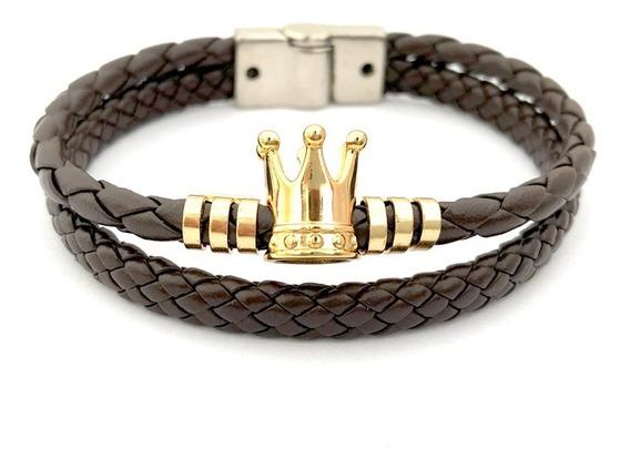Pulseira Bracelete Masculino Couro Marrom Símbolo Coroa