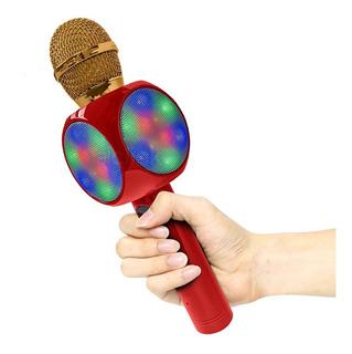 Micrófono Con Parlante Y Luces Karaoke Bluetooth Inalámbrico