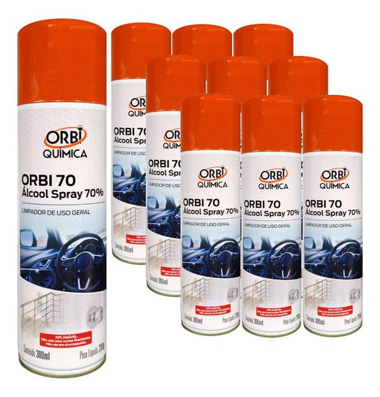 Alcool Spray 70% Limpador De Uso Geral 300ml - 10 Unidades