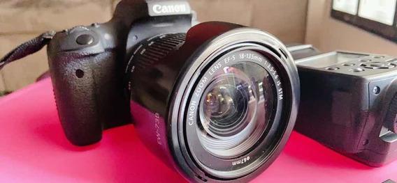 Câmera Canon T6s + Flash + 50mm + Bolsa Completa