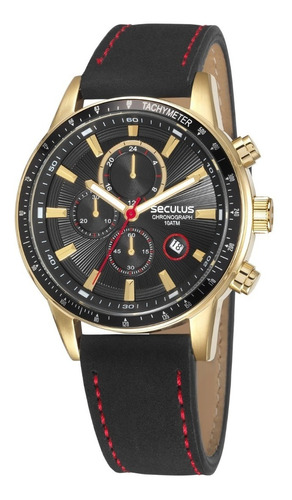 Relógio Seculus Cronógrafo,dourado,10atm,couro, 23649gpsvha1