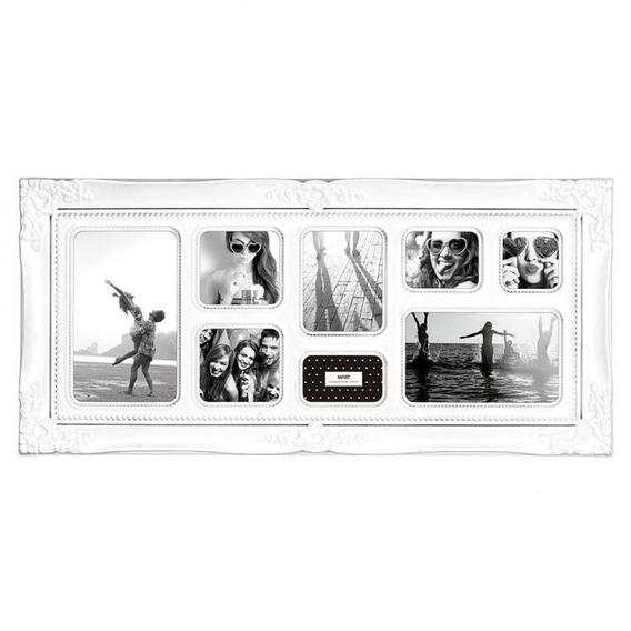 Porta Retrato Retrô Rococó Branco 8 Fotos Mart 2382
