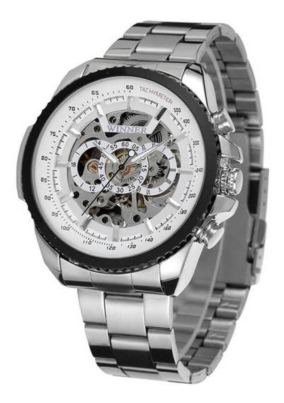 Relógio Automático Inox Prata Winner