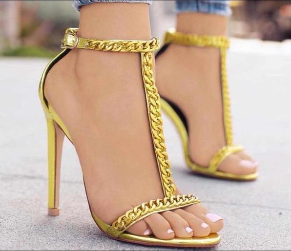 Sandalia Salto Fino Alto Confortavel 10cm Neon Corrente