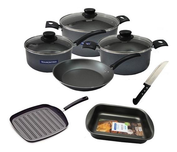 Set Bateria Cocina Tramontina Ollas+ Sarten+ Bifera+ Asadera