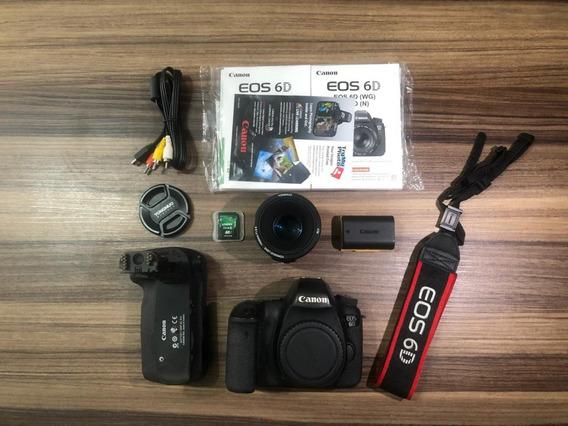 Canon 6d Full Frame (wg) Wi-fi E Gps + 50mm 1.8 Grip Orig.