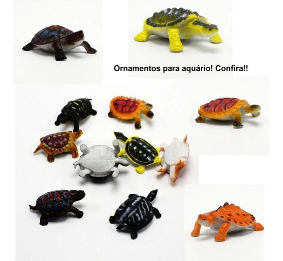 3 Tartaruga Decorativa De Fundo De Aquário Ornamentos 4,5cm