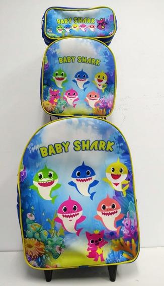 Kit Mochila De Rodinha Infantil Baby Shark
