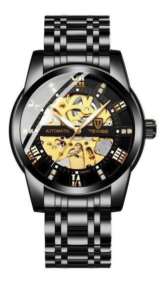 Relógio Masculino Tevise T9005a Garantia E Nota Fiscal Preto