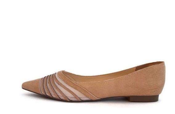 Sapato Sapatilha Feminina Couro Com Transparência Casual