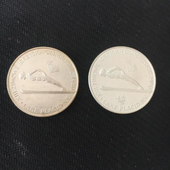 2 Moedas 200 Zloty Polônia - Com E Sem Tocha Olímpica 1980